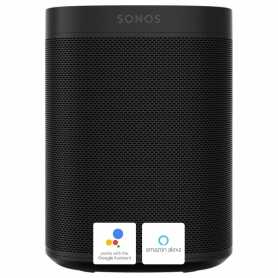Sonos ONE smart speaker with Google Assist and Amazon Alexa voice control - black